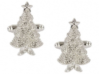 Dalaco 90-1519 Christmas Tree Rhodium Plated Cufflinks